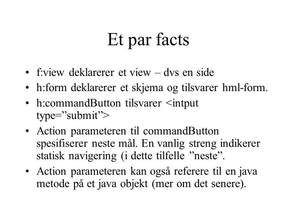 Et par facts f:view deklarerer et view – dvs en side h:form deklarerer et skjema og tilsvarer hml-form.