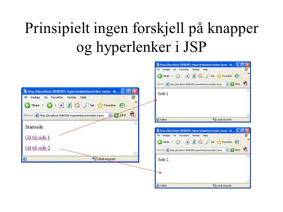 Prinsipielt ingen forskjell på knapper og hyperlenker i JSP