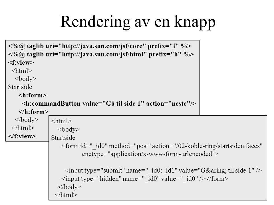 Rendering av en knapp Startside Startside <form id= _id0 method= post action= /02-koble-ring/startsiden.faces enctype= application/x-www-form-urlencoded >