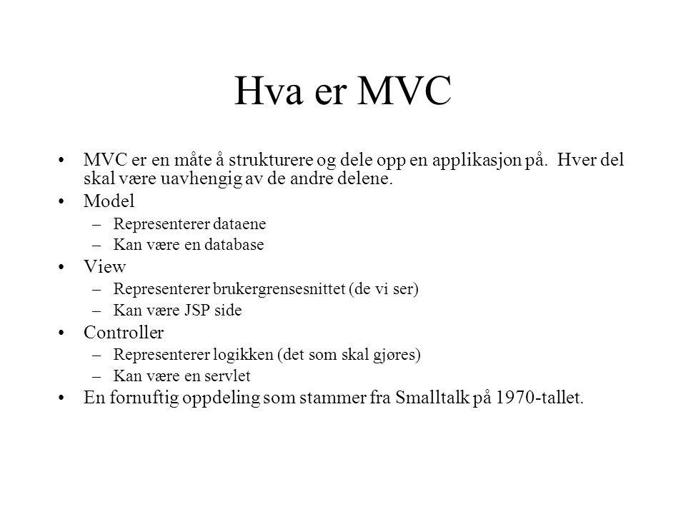 Hva er MVC MVC er en måte å strukturere og dele opp en applikasjon på.