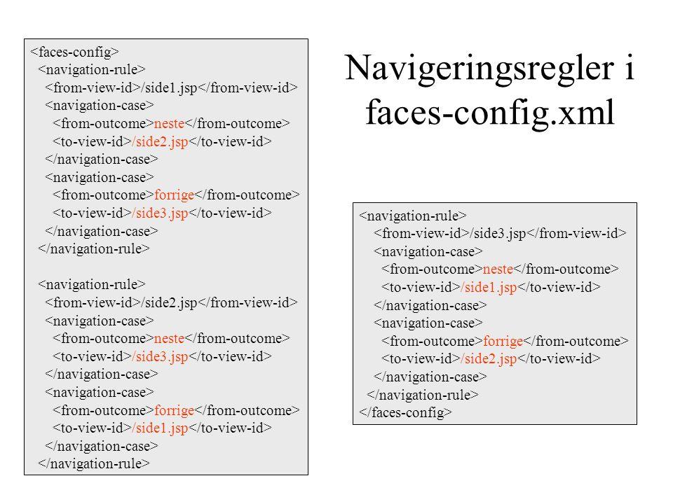 Navigeringsregler i faces-config.xml /side1.jsp neste /side2.jsp forrige /side3.jsp /side2.jsp neste /side3.jsp forrige /side1.jsp /side3.jsp neste /side1.jsp forrige /side2.jsp