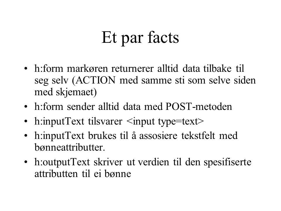 Et par facts h:form markøren returnerer alltid data tilbake til seg selv (ACTION med samme sti som selve siden med skjemaet) h:form sender alltid data med POST-metoden h:inputText tilsvarer h:inputText brukes til å assosiere tekstfelt med bønneattributter.