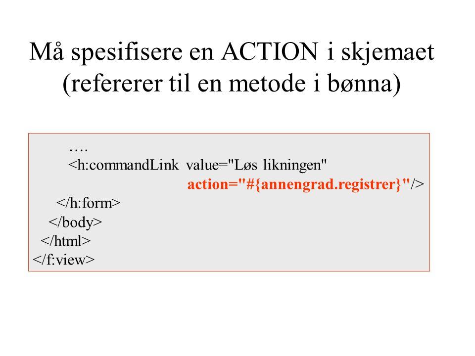 Må spesifisere en ACTION i skjemaet (refererer til en metode i bønna) ….