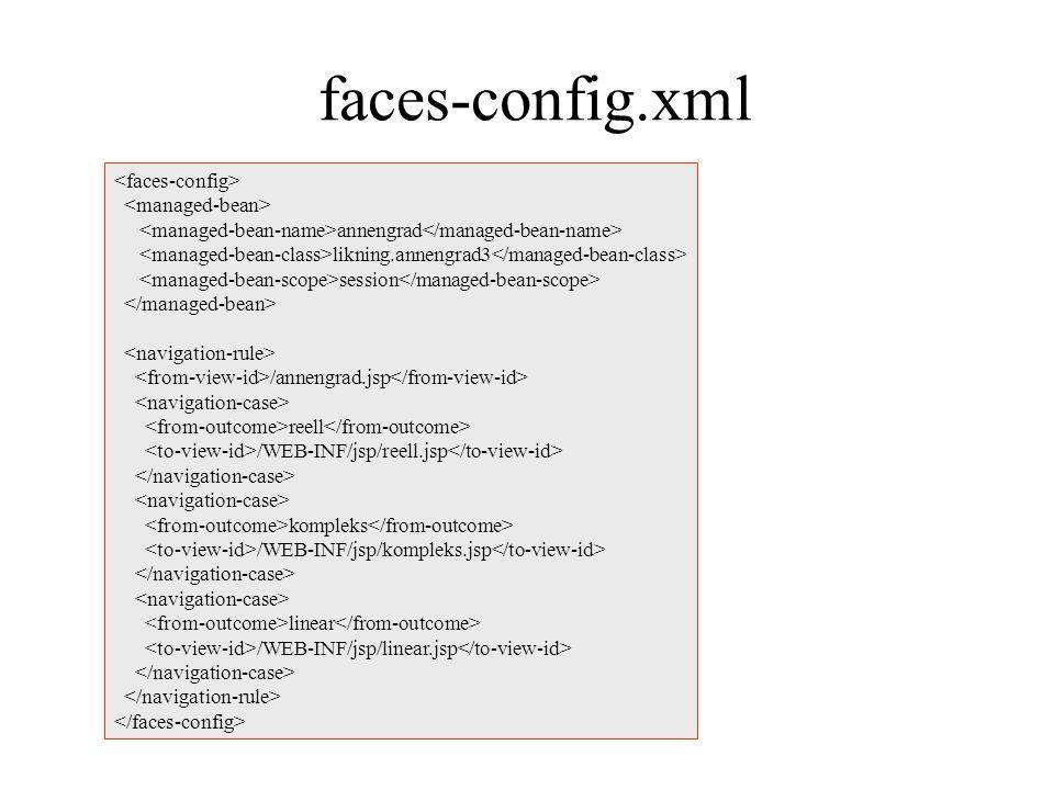 faces-config.xml annengrad likning.annengrad3 session /annengrad.jsp reell /WEB-INF/jsp/reell.jsp kompleks /WEB-INF/jsp/kompleks.jsp linear /WEB-INF/jsp/linear.jsp