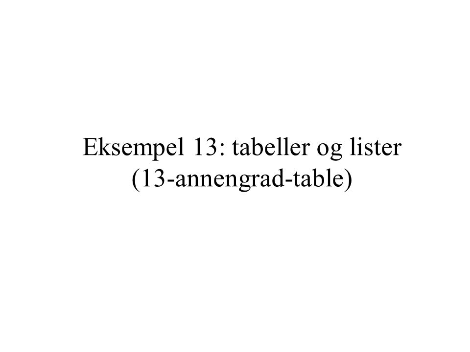 Eksempel 13: tabeller og lister (13-annengrad-table)