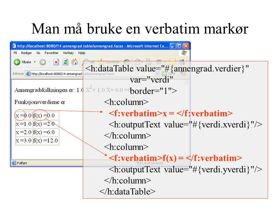Man må bruke en verbatim markør <h:dataTable value= #{annengrad.verdier} var= verdi border= 1 > x = f(x) =