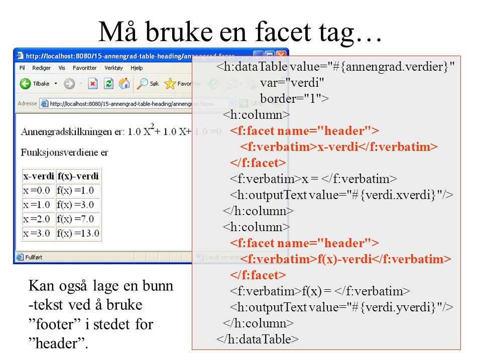 Må bruke en facet tag… <h:dataTable value= #{annengrad.verdier} var= verdi border= 1 > x-verdi x = f(x)-verdi f(x) = Kan også lage en bunn -tekst ved å bruke footer i stedet for header .