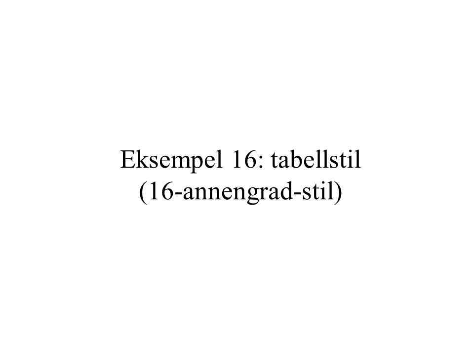 Eksempel 16: tabellstil (16-annengrad-stil)