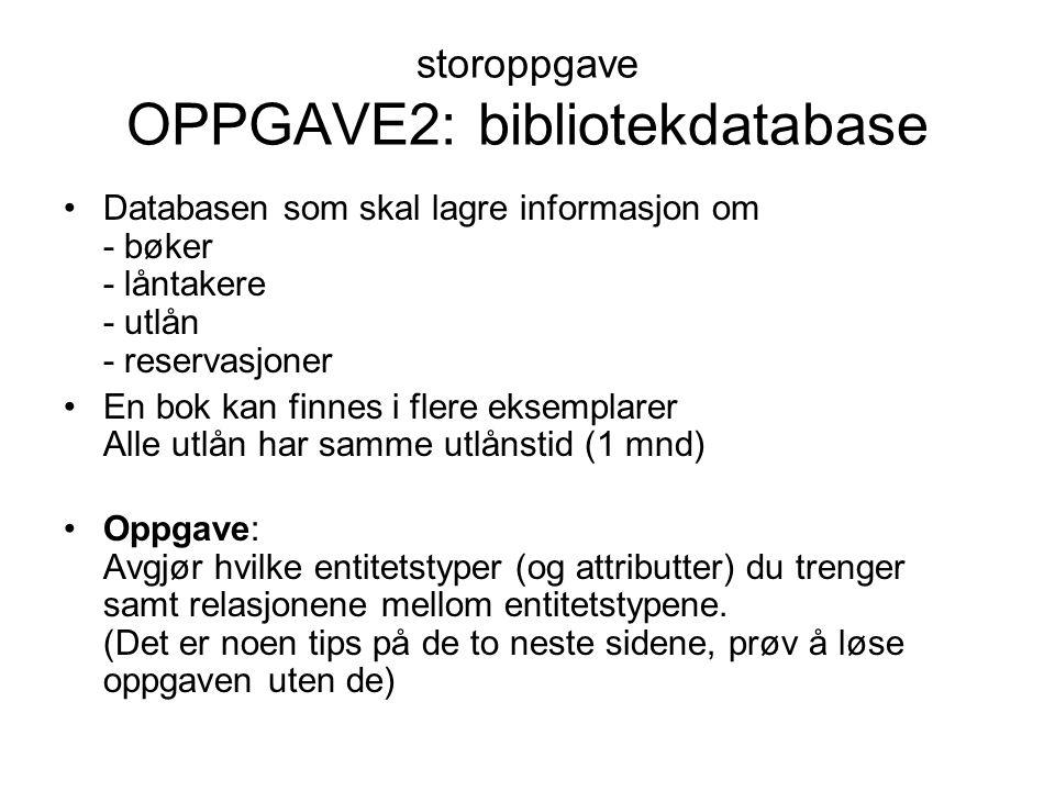 storoppgave OPPGAVE2: bibliotekdatabase Databasen som skal lagre informasjon om - bøker - låntakere - utlån - reservasjoner En bok kan finnes i flere