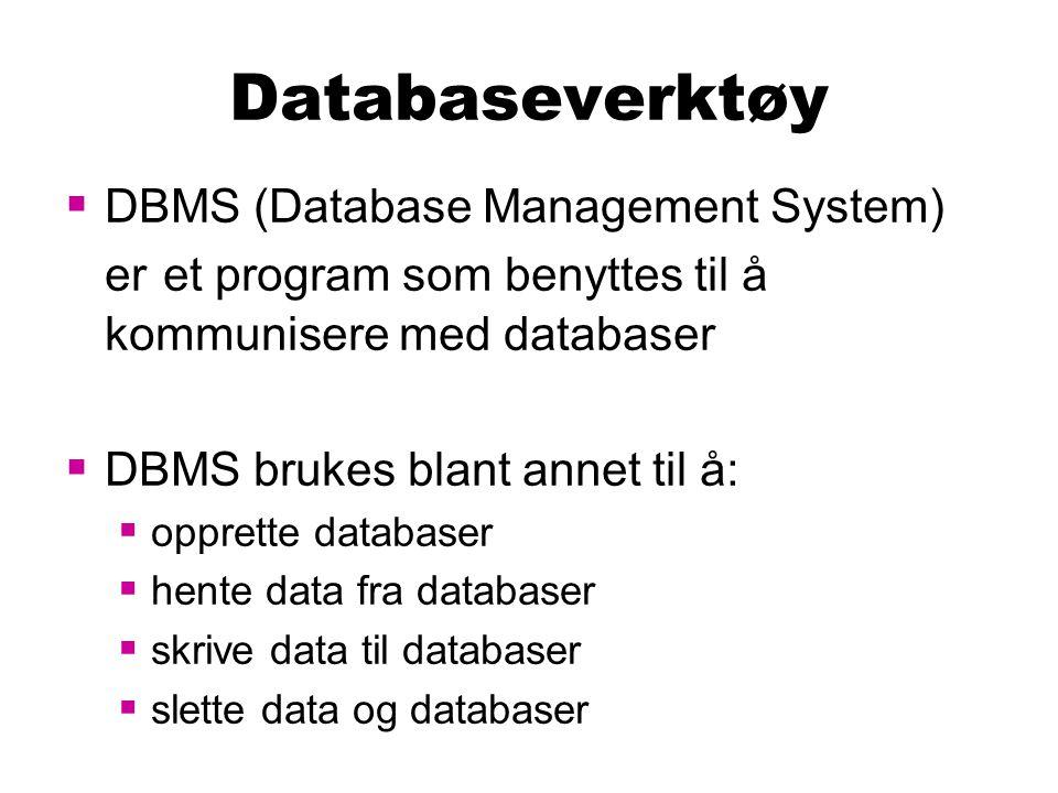 Brukere  Hver bruker som skal jobbe mot databasen, trenger en brukerkonto  I DBMS'et er det definert hvilke rettigheter hver brukerkonto har  Administrator har adgang til å definere rettigheter til de forskjellige brukerkontoene