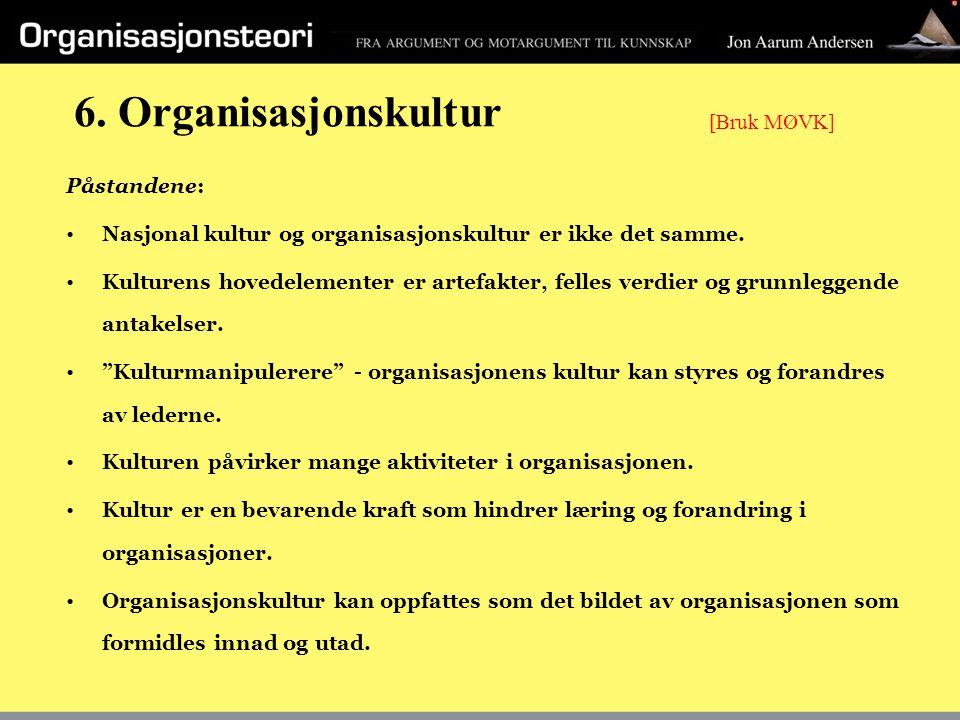 6. Organisasjonskultur Påstandene: Nasjonal kultur og organisasjonskultur er ikke det samme. Kulturens hovedelementer er artefakter, felles verdier og