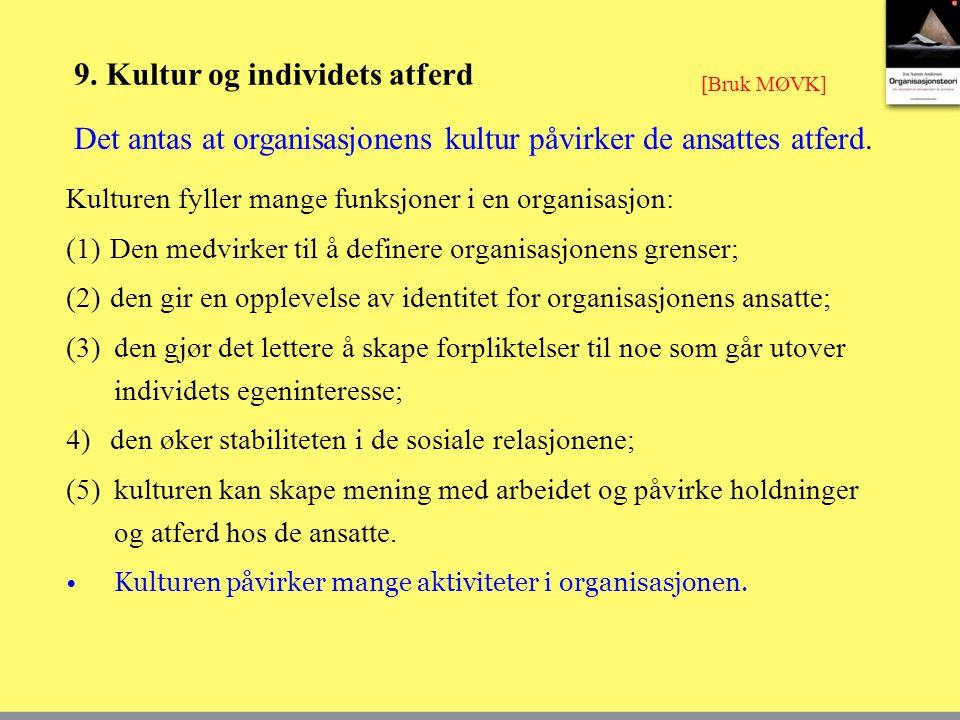 9. Kultur og individets atferd Kulturen fyller mange funksjoner i en organisasjon: (1)Den medvirker til å definere organisasjonens grenser; (2)den gir
