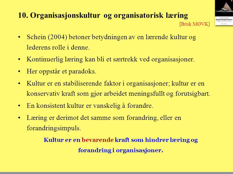 10. Organisasjonskultur og organisatorisk læring Schein (2004) betoner betydningen av en lærende kultur og lederens rolle i denne. Kontinuerlig læring