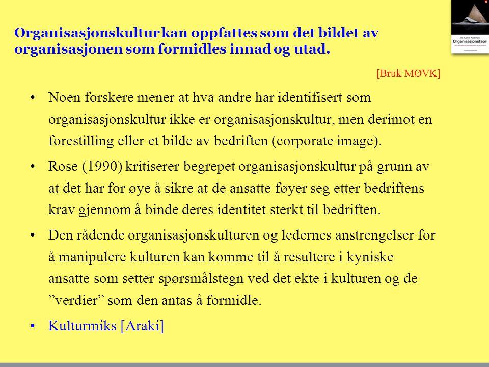 Noen forskere mener at hva andre har identifisert som organisasjonskultur ikke er organisasjonskultur, men derimot en forestilling eller et bilde av b