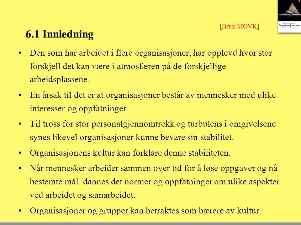 6.1 Innledning Den som har arbeidet i flere organisasjoner, har opplevd hvor stor forskjell det kan være i atmosfæren på de forskjellige arbeidsplasse