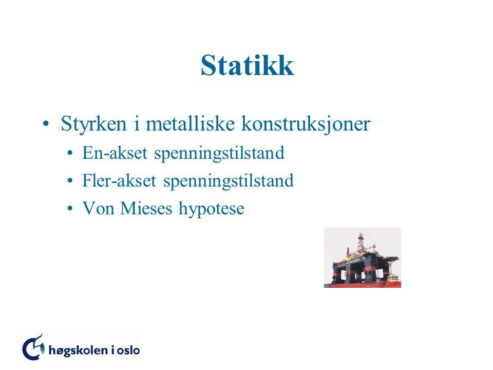 Styrken i metalliske konstruksjoner En-akset spenningstilstand Fler-akset spenningstilstand Von Mieses hypotese