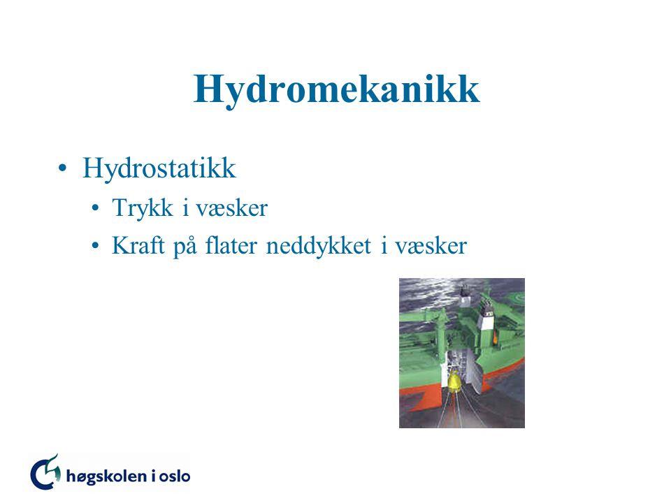 Hydromekanikk Hydrostatikk Trykk i væsker Kraft på flater neddykket i væsker