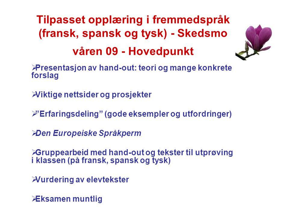 Tilpasset opplæring i fremmedspråk (fransk, spansk og tysk) - Skedsmo våren 09 - Hovedpunkt  Presentasjon av hand-out: teori og mange konkrete forsla