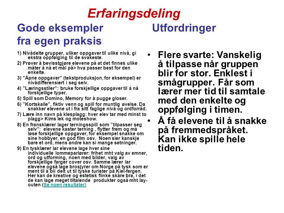 Presentasjon av prosjektet: EKSPER (Elevenes kommunikative SpråkPREformanse, UiA) - Se: http://www.fremmedspraksenteret.no/index.php?ID=15898 http://www.fremmedspraksenteret.no/index.php?ID=15898 Her blir Dette kan jeg er fremstilt visuelt i en sirkel som er delt opp i kakestykker Kursdeltakernes umiddelbare vurdering:  EKSPER virker meget tiltalende.