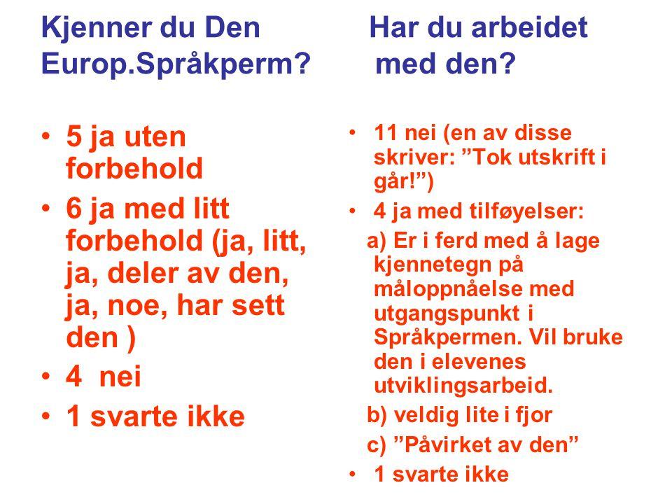 Den Europiske Språkpermen Dette mener lærerne Er veldig fin til oppøving av strategier/bevisstgjøring av språklæring.