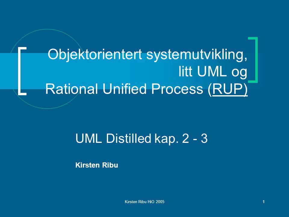 Kirsten Ribu HiO 20051 Objektorientert systemutvikling, litt UML og Rational Unified Process (RUP) UML Distilled kap.