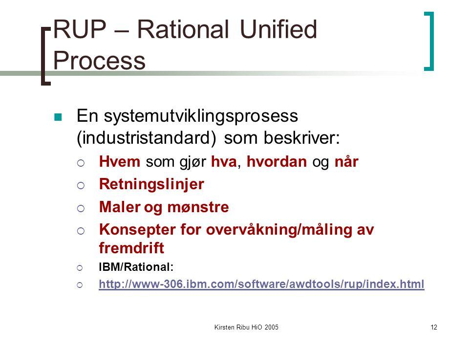 Kirsten Ribu HiO 200512 RUP – Rational Unified Process En systemutviklingsprosess (industristandard) som beskriver:  Hvem som gjør hva, hvordan og når  Retningslinjer  Maler og mønstre  Konsepter for overvåkning/måling av fremdrift  IBM/Rational:  http://www-306.ibm.com/software/awdtools/rup/index.html http://www-306.ibm.com/software/awdtools/rup/index.html