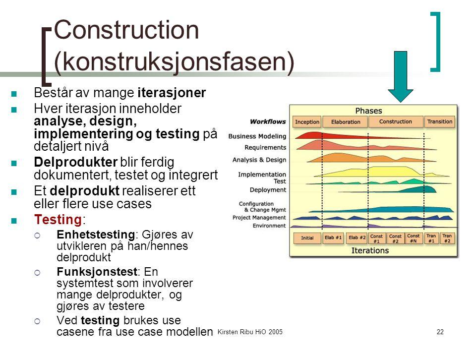 Kirsten Ribu HiO 200522 Construction (konstruksjonsfasen) Består av mange iterasjoner Hver iterasjon inneholder analyse, design, implementering og testing på detaljert nivå Delprodukter blir ferdig dokumentert, testet og integrert Et delprodukt realiserer ett eller flere use cases Testing:  Enhetstesting: Gjøres av utvikleren på han/hennes delprodukt  Funksjonstest: En systemtest som involverer mange delprodukter, og gjøres av testere  Ved testing brukes use casene fra use case modellen