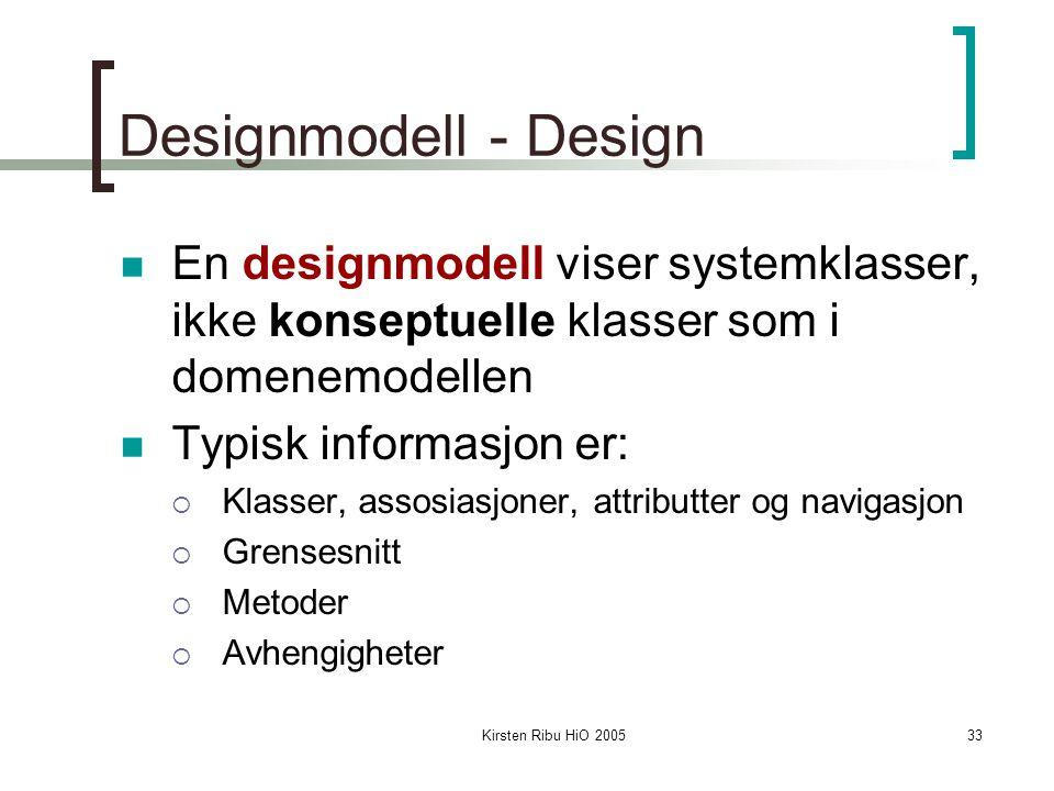 Kirsten Ribu HiO 200533 Designmodell - Design En designmodell viser systemklasser, ikke konseptuelle klasser som i domenemodellen Typisk informasjon er:  Klasser, assosiasjoner, attributter og navigasjon  Grensesnitt  Metoder  Avhengigheter