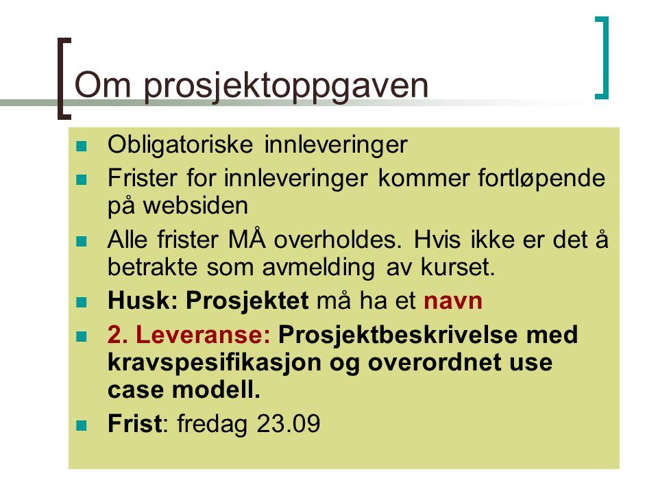 Kirsten Ribu HiO 200536 Om prosjektoppgaven Obligatoriske innleveringer Frister for innleveringer kommer fortløpende på websiden Alle frister MÅ overholdes.