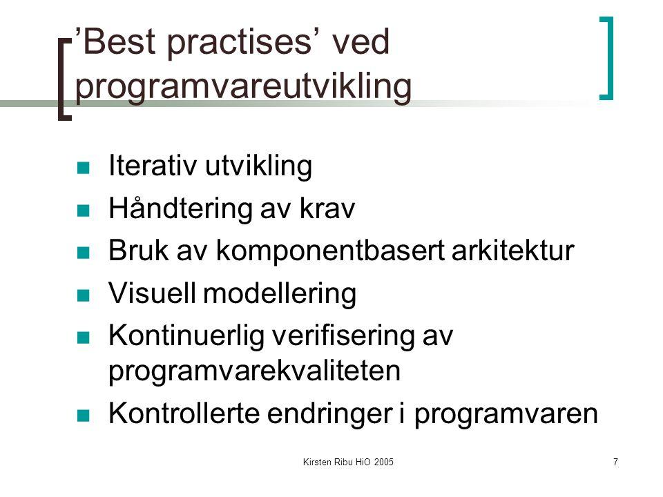 Kirsten Ribu HiO 20057 'Best practises' ved programvareutvikling Iterativ utvikling Håndtering av krav Bruk av komponentbasert arkitektur Visuell modellering Kontinuerlig verifisering av programvarekvaliteten Kontrollerte endringer i programvaren