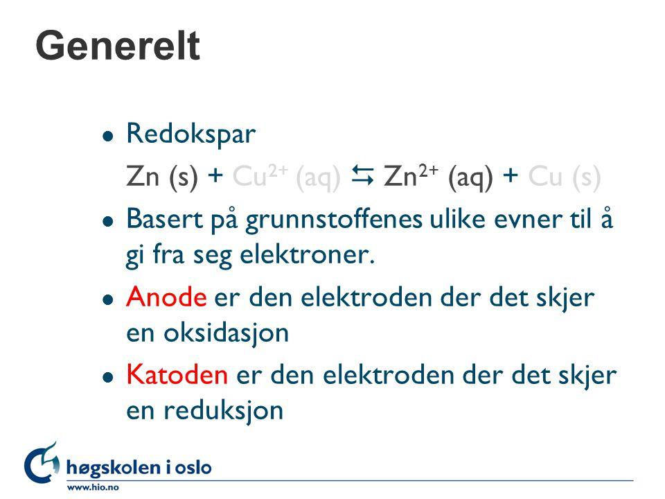Spenningsrekka l Delreaksjoner Zn (s)  Zn 2+ (aq) +2e - (oksidasjon) Cu 2+ (aq) +2e  Cu (s) (reduksjon) l Grunnstoffene rangeres etter avtakende styrke som reduksjonsmiddel