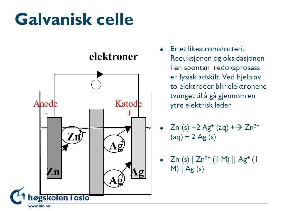 Elektromotorisk spenning l Den elektromotoriske spenningen, ems (cellespenningen) er l Ems = E o = E o katode - E o anode l Gir for cellen over: l Ems = 0,80 - (-0,76) = 1,56 V