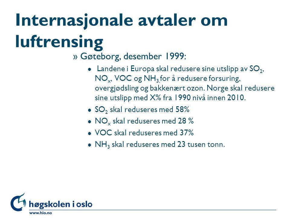 Internasjonale avtaler om luftrensing »Gøteborg, desember 1999: l Landene i Europa skal redusere sine utslipp av SO 2, NO x, VOC og NH 3. for å reduse
