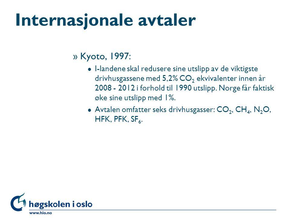 Internasjonale avtaler »Kyoto, 1997: l I-landene skal redusere sine utslipp av de viktigste drivhusgassene med 5,2% CO 2 ekvivalenter innen år 2008 -
