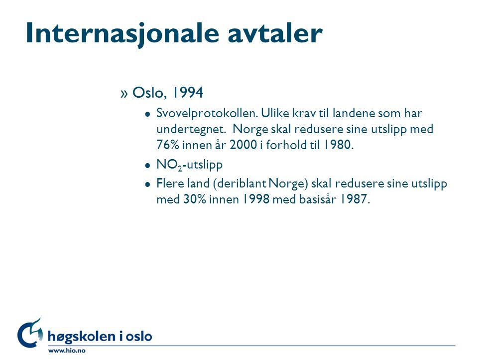 Internasjonale avtaler »Oslo, 1994 l Svovelprotokollen. Ulike krav til landene som har undertegnet. Norge skal redusere sine utslipp med 76% innen år