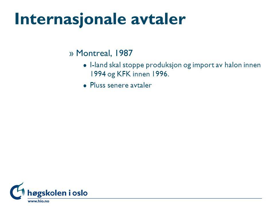 Internasjonale avtaler »Montreal, 1987 l I-land skal stoppe produksjon og import av halon innen 1994 og KFK innen 1996. l Pluss senere avtaler