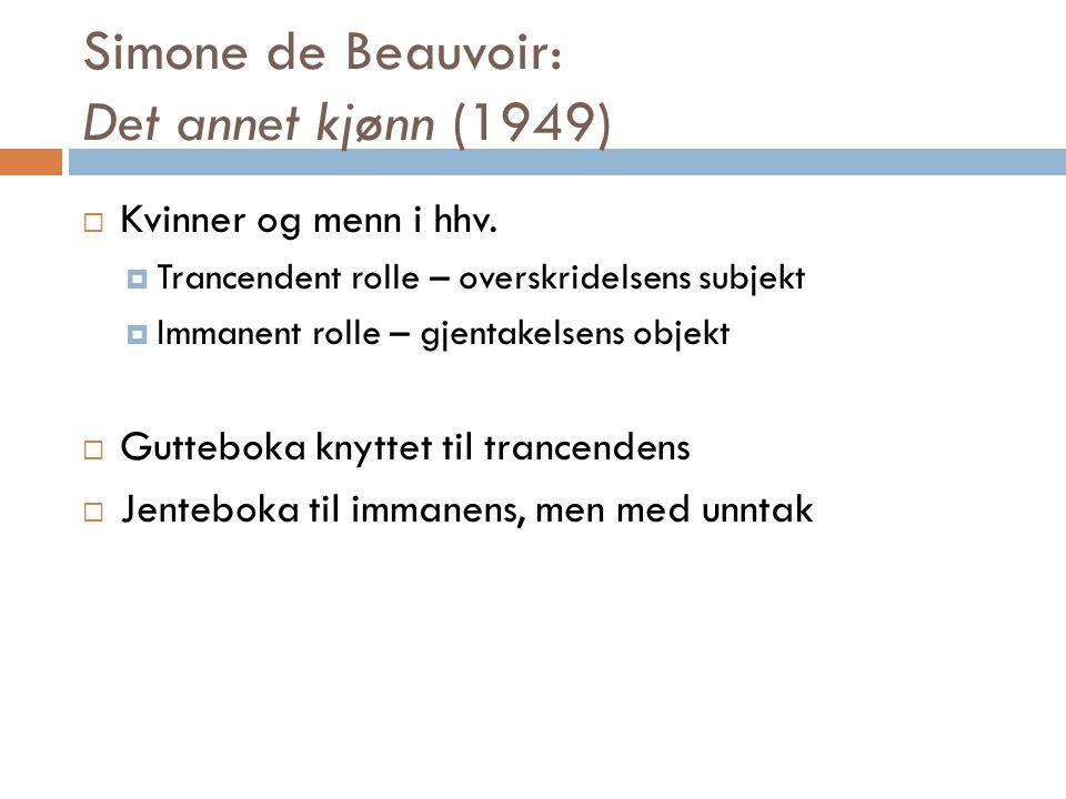 Simone de Beauvoir: Det annet kjønn (1949)  Kvinner og menn i hhv.  Trancendent rolle – overskridelsens subjekt  Immanent rolle – gjentakelsens obj