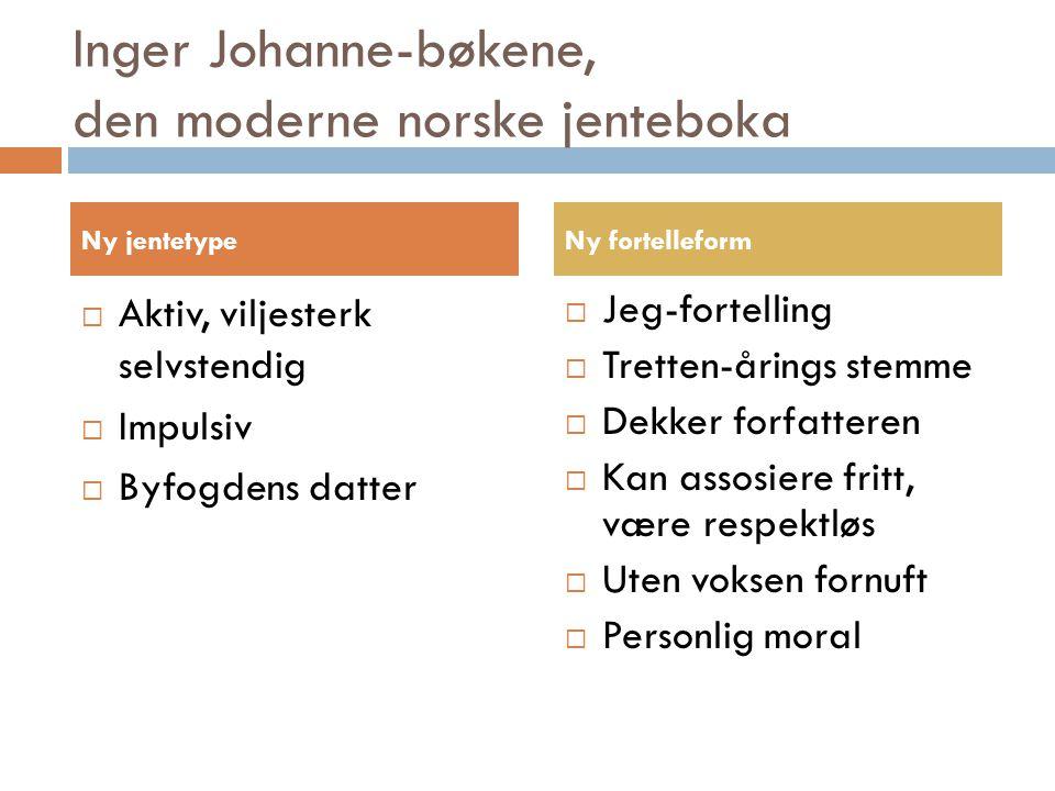 Inger Johanne-bøkene, den moderne norske jenteboka  Aktiv, viljesterk selvstendig  Impulsiv  Byfogdens datter  Jeg-fortelling  Tretten-årings ste