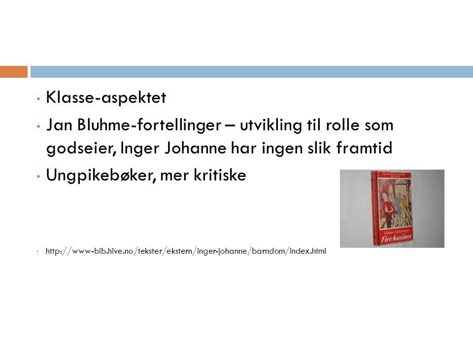 Klasse-aspektet Jan Bluhme-fortellinger – utvikling til rolle som godseier, Inger Johanne har ingen slik framtid Ungpikebøker, mer kritiske http://www