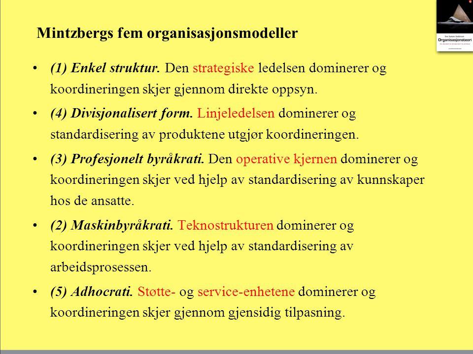 5.Organisasjoners struktur og funksjon Strukturen i en organisasjon er bestemt av ledelsen.