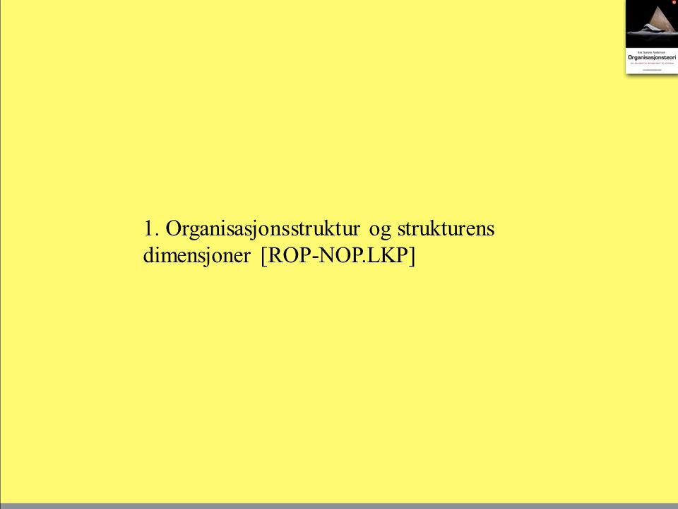 Strukturen beskrives gjennom graden av spesialisering, formalisering og sentralisering/ desentralisering.
