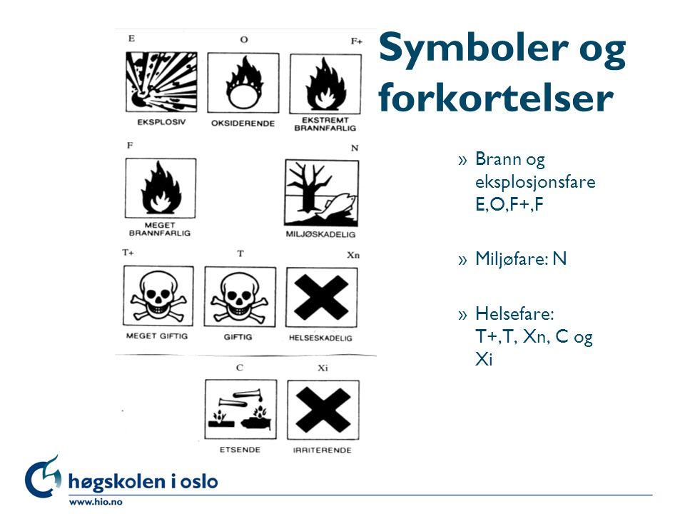 Symboler og forkortelser »Brann og eksplosjonsfare E,O,F+,F »Miljøfare: N »Helsefare: T+,T, Xn, C og Xi
