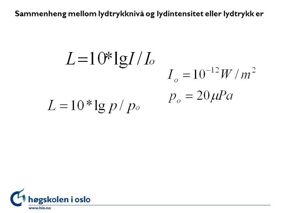 Oppgave l Hvor stort er lydtrykknivået ved en lydintensitet på 10 -4,5 .