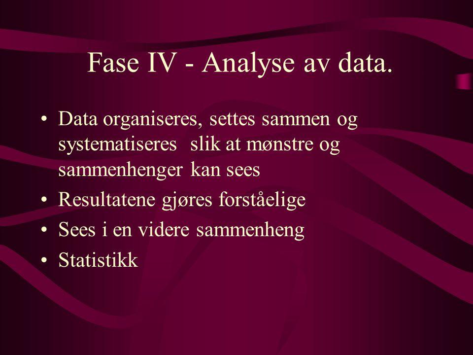 Fase IV - Analyse av data. Data organiseres, settes sammen og systematiseres slik at mønstre og sammenhenger kan sees Resultatene gjøres forståelige S