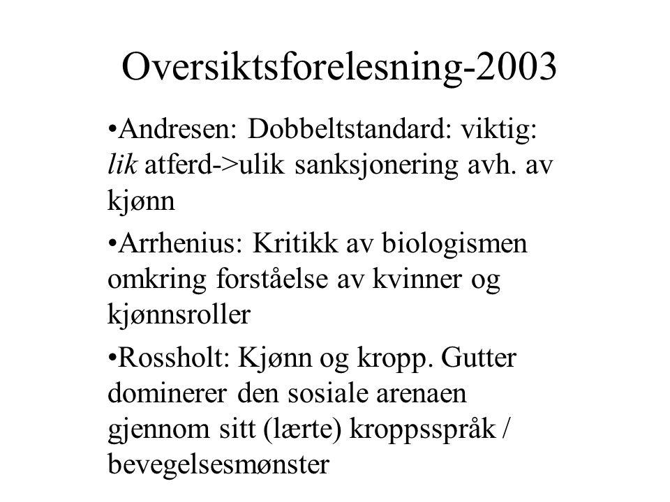 Oversiktsforelesning-2003 Andresen: Dobbeltstandard: viktig: lik atferd->ulik sanksjonering avh. av kjønn Arrhenius: Kritikk av biologismen omkring fo