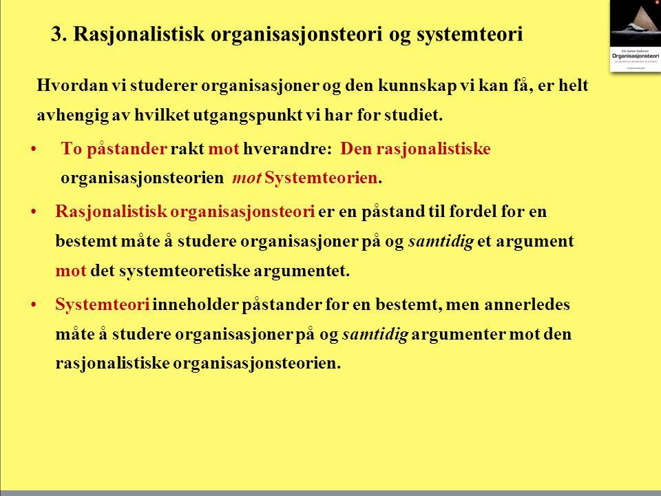 Rasjonalistisk organisasjonsteori Hovedpunktene i den rasjonalistiske organisasjonsteorien er at det er individuelle behov (ønsker, krav, forventninger og ambisjoner) som får individer til å innse at de best kan tilfredsstille sine behov gjennom en kollektiv handling.