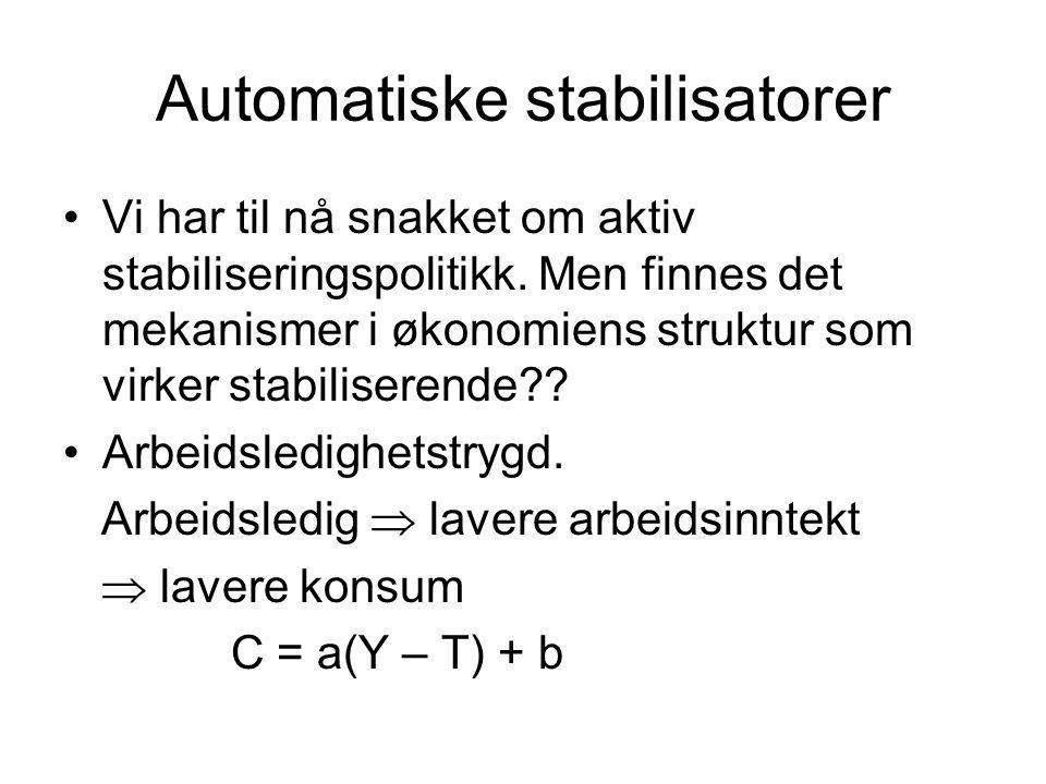 Automatiske stabilisatorer Vi har til nå snakket om aktiv stabiliseringspolitikk. Men finnes det mekanismer i økonomiens struktur som virker stabilise