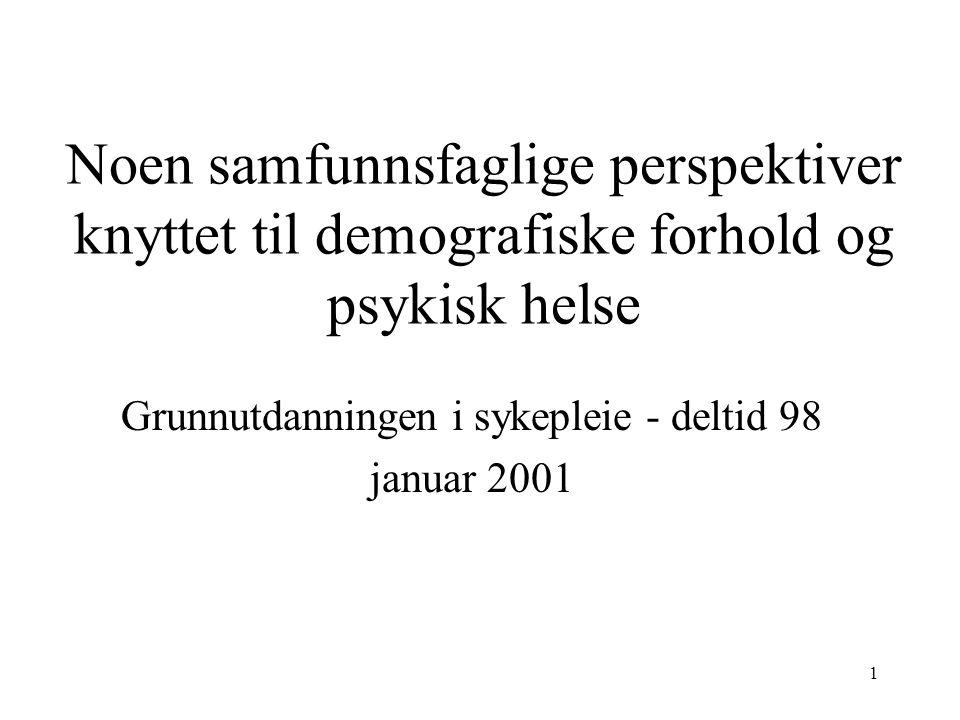 1 Noen samfunnsfaglige perspektiver knyttet til demografiske forhold og psykisk helse Grunnutdanningen i sykepleie - deltid 98 januar 2001