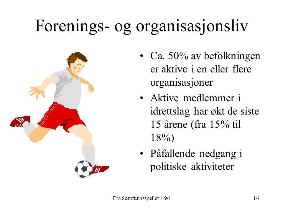 Fra Samfunnsspeilet 1/9616 Forenings- og organisasjonsliv Ca. 50% av befolkningen er aktive i en eller flere organisasjoner Aktive medlemmer i idretts