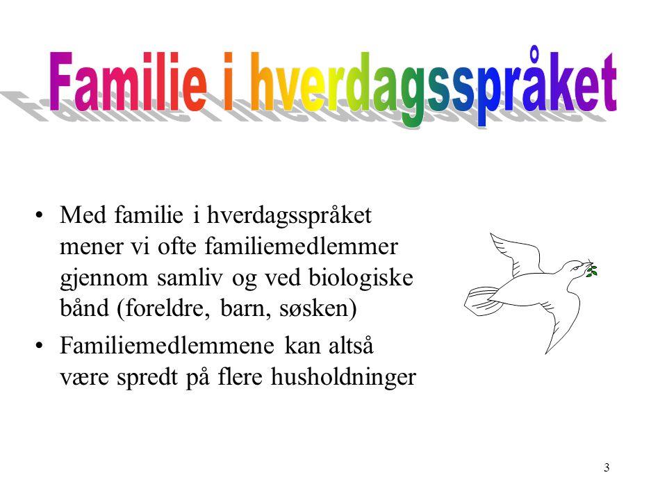 3 Med familie i hverdagsspråket mener vi ofte familiemedlemmer gjennom samliv og ved biologiske bånd (foreldre, barn, søsken) Familiemedlemmene kan al